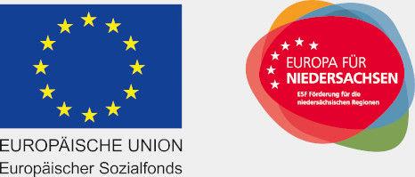Logos des Europäischen Sozialfonds und des Europa für Niedersachsen, welche Förderer bzw. Sponsoren der Audio-Uni sind und unseren Nutzern das Studieren von Onlinemarketing ermöglicht.