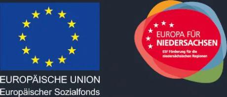Logo von den Sponsoren der Audio-Uni. Zu sehen ist der europäische Sozialfonds und Europa für Niedersachsen, um das Onlinemarketing Studium zu fördern.
